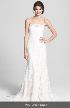 Legends by Romona Keveza Fluted Lace Silk Gown (In Stores Only) available at #Nordstrom - I love the lace detail across the neckline