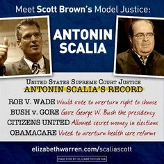 Brown & Scalia!  THIS Cannot Happen! Show Your Support. give $$ if you can and GO LIKE ELIZABETH WARRENS FACEBOOK PAGE !!