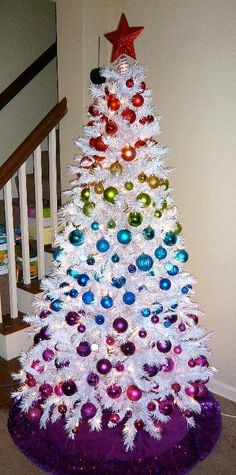 White Christmas Trees (Rainbow Tree) so colorful ツ for those who dont do traditional xmas tree Rainbow Christmas Tree, White Christmas Tree Decorations, White Christmas Trees, Beautiful Christmas Trees, Noel Christmas, All Things Christmas, Winter Christmas, Christmas Crafts, White Trees
