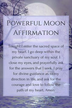 a wonderful affirmation to use during a new moon. The new moon energy is very supportive of new beginnings and starting fresh. It brings a powerful spiritual energy for change. You can use this affirmation to help you tap into this energy. Full Moon Spells, Full Moon Ritual, Magick, Witchcraft, Wiccan Spells, Magic Spells, New Moon Rituals, Moon Magic, Lunar Magic