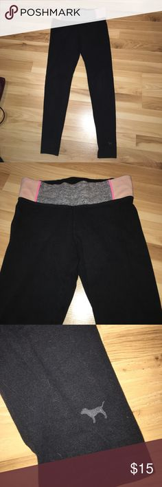 PINK Yoga Leggings hey guys! i'm selling my yoga leggings from PINK! they have a heather grey, pink, and tan blocked design on the band! there is also a small pocket on the back side shown in the picture. these are super comfy and in wonderful condition! let me know if you have any questions! PINK Victoria's Secret Pants Leggings