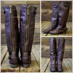 Montana Skye Light Brown Strap Riding Boots | Amazing Lace. Size 10