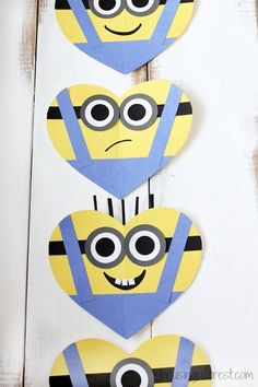 Join the Minion craze with cute little minion crafts that make the perfect Valentines for all of your child's friends. These Adorable Minion Valentine's Day Hearts fit all of the wackiness of a Minion into a festive heart shape. Valentine's Day Crafts For Kids, Valentine Crafts For Kids, Valentines Day Activities, Valentines Day Hearts, Craft Activities, Preschool Crafts, Holiday Crafts, Diy Valentines Cards, Homemade Valentines