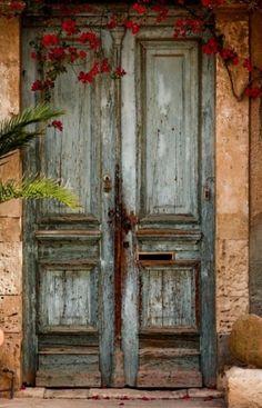 old door, red flowers