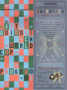 The program of the 422nd Quidditch World Cup with impressive details! Of players, sponsor, display, advertising etc .... A wonder!  Here page 2 and 3               (2/5)