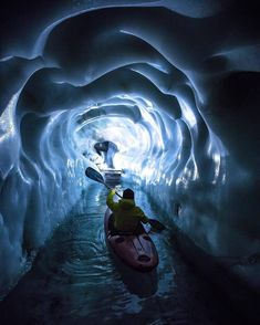 """""""Paddling through the ice caves of Hintertux Glacier in Austria"""" photo by: Tom Klocker Kayak Camping, Canoe And Kayak, Kayak Fishing, Kayaks, Go Outdoors, The Great Outdoors, Destinations, Innsbruck, Cycling Art"""