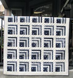 Indigo Cabin Fever quilt kit at Hollyhill Quilt Shoppe (Oregon).  Fabric rom Minick & Simpson's Indigo Crossing collection