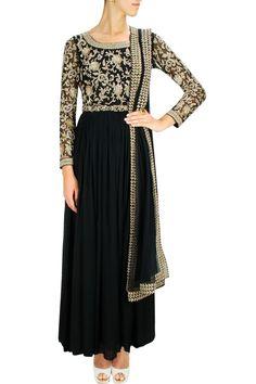 Black embroidered anarkali set with studded waist belt. By MALASA. Shop designer now at www.perniaspopups... #designer #indian #stylish #shopnow #perniaspopupshop #happyshopping