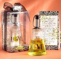Glass LOVE Bottle Olive Oil Wedding Favors (Kate Aspen 27026NA) | Buy at Wedding Favors Unlimited (http://www.weddingfavorsunlimited.com/glass_love_olive_oil_bottle_favor.html).