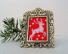 Embroidered Christmas deer in royal frame Xmas symbol New Family Christmas Gifts, Christmas Deer, Rustic Christmas, Gifts For Family, Xmas, Tiny Cross Stitch, Deer Ornament, Victorian Frame, Antique Frames
