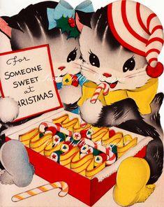 Vintage For Someone Sweet At Christmas Kitten by poshtottydesignz
