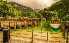 Lataa kuva Königsee, vuoret, lake, veneet, Baijeri, Saksa