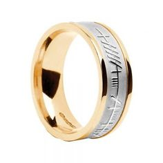 Gents Ogham-White Centre on Yellow Wedding Ring – Celtic Jewelry by Boru ® Irish Wedding Rings, Wedding Bands, Ring Shapes, Yellow Wedding, Rings For Men, Engagement Rings, Sterling Silver, Centre, Gold