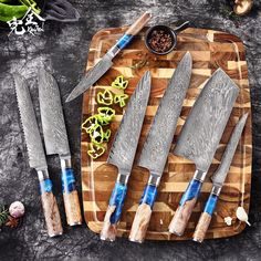 Discover the most beautiful and sharp knives in town. The new Kanzen Knife series is made of high-quality materials that are designed to last a lifetime! They come with a beautiful design, ergonomic handles, damascus steel blades, and an incredible grip. These beauties will make your cooking experience enjoyable again. Stop by our store today for more information about this amazing product! Damascus Steel Kitchen Knives, Damascus Steel Chef Knife, Damascus Knife, Chef Sushi, Lame Damas, Professional Kitchen Knives, Japanese Kitchen Knives, Cleaver Knife, Handmade Kitchens