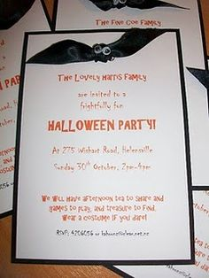 pinterest 365 day 115: halloween party invitations with ribbon bats ... really cute and the idea comes from parents.com :)