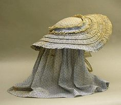Bonnet (Sunbonnet)  Date: mid-19th century Culture: American or European Medium: cotton, metal Dimensions: Total Length: 29 1/4 in. (74.3 cm) Credit Line: Purchase, Gifts from Various Donors Fund, 1992 Accession Number: 1992.9.1nbonnet)  Download image