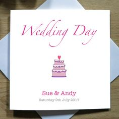 Personalised-Handmade-Wedding-Day-Cake-Card-Bride-Groom-Mr-amp-Mrs-Marriage