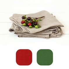 Christmas linen napkins  Red linen napkins  by LinenHomeShop