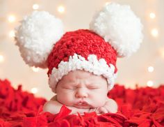 SALE Christmas Baby Santa Hat, Baby Hat, Preemie or Newborn Baby Girl or Baby Boy Pom Pom Mouse Ear Hat - Red, White - Photo Prop Santa Hat. $20.00, via Etsy.