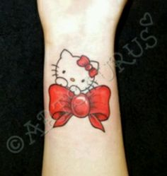 Hello Kitty on bow tattoo, pink instead of red. Girly Tattoos, Love Tattoos, Body Art Tattoos, New Tattoos, Tatoos, Rosary Tattoos, Bracelet Tattoos, Heart Tattoos, Thigh Tattoos