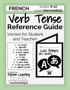 "French Verb Tenses Reference Guide / Booklet / Chart - $5.  Looking for a way for students to have easy access to all the major tenses and how to form them?  This fun reference guide for common French tenses is in the format of a small ""passport"" or booklet.  It includes a reference guide for the le present, l'impératif, le futur proche, le passé composé, l'imparfait, le futur, le conditionnel, le passé simple, le plus-que-parfait, and le subjonctif présent."