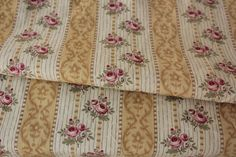 Antique French printed cotton c1910 khaki floral stripe yellow gold floral old