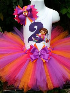 Hey, I found this really awesome Etsy listing at https://www.etsy.com/listing/161589243/dora-the-explorer-tutu-set-pink-purple