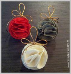 Coisinhas de Noiva: Tutorial: Bolas de Feltro para árvore de Natal