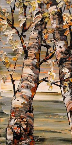 Maya Eventov – Saw one of her paintings in a gallery in Hawaii. Three dimension… Maya Eventov – Saw one of her paintings in a gallery in Hawaii. Three dimensional…just loved it! Landscape Art, Landscape Paintings, Birch Tree Art, Texture Painting, Acrylic Art, Art Techniques, Art Oil, Watercolor Art, Art Photography