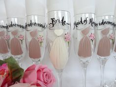THE ORIGINAL ARTIST of the Personalized Hand Painted Bridesmaid Dress Champagne Glasses -  Gift Wrapping Available