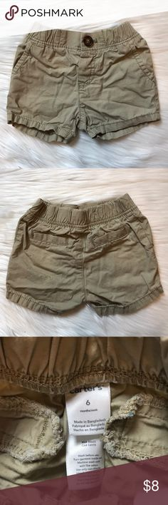 Baby Boy Khaki Shorts These baby boy khaki shorts are in very good condition. They are wrinkled from storage, but no other flaws. I worked at Carter's and customers told me that these ran big. That is also my opinion, but they worked fine for my baby, last summer, and he was 4-7 months old when he wore these. Bottoms Shorts