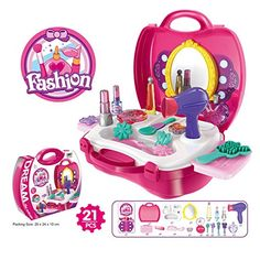 Beauty Set for Girls Makeup Suitcase Makeup Vanity Set 21 Pieces (Pink) *** To view further for this item, visit the image link.