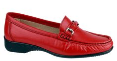 Cotswold Barrington Ladies Slip On Moccasin Shoe - Red - 42 - Robin Elt Shoes  http://www.robineltshoes.co.uk/store/search/brand/Cotswold-Ladies/ #Autumn #Winter #AW14 #2014 #2015