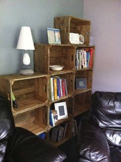 Vintage look apple crate bookshelves Crate Bookshelf, Bookshelves, Basment Ideas, Crate Decor, Apple Crates, Old Farm Houses, Wood Crates, Home Reno, Decorating Ideas