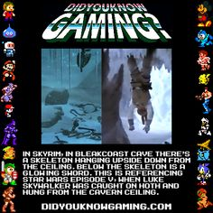 """The Elder Scrolls V: Skyrim. Via didyouknowgaming. Submitted by Unownknight7. """"I;ve also been told that the sword glows blue, the same color as Luke;s saber at this point in the film, but there;s not a huge amount of visual information on that one."""""""