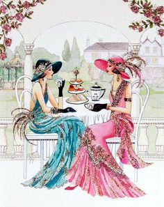 Art Deco Two Women Coffee and Pastry
