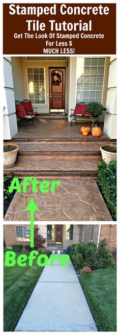 DIY STAMPED CONCRETE TILE TUTORIAL - Get the look of stamped concrete for less $, MUCH LESS!