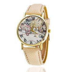 Vintage World Map Wrist Watch