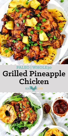 This Paleo grilled pineapple chicken has a smoky barbecue flavor, with a.This Paleo grilled pineapple chicken has a smoky barbecue flavor, with a hint of sweetness and juicy grilled pineapple for a healthy summer dinner! Healthy Dinner Recipes For Weight Loss, Good Healthy Recipes, Diet Recipes, Cooking Recipes, Dinner Healthy, Easy Paleo Dinner Recipes, Fancy Recipes, Vegetarian Recipes, Dessert Healthy