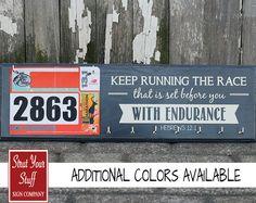 Running Medal Holder and Race Bib Hanger  - Hebrews12:1 - Keep Running the Race on Etsy, $42.50