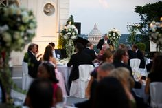 Wedding Dinner - private Villa Roma - Church Wedding in Rome - weddingplanner: www.prime-moments.com Wedding Dinner, Church Wedding, Rome Italy, Villa, Street View, Wedding, Wedding Meals, Fork, Villas