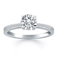 14K White Gold Engagement Ring with 0.65 ctw Diamond Channel Set Band Jewelcology