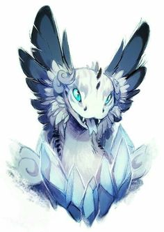 i see this as an ice / frost dragon with their favourite jewels ice blue colour scheme Cool drawing Would be great for a chance encounter with a baby dragon in some treasure - possible DnD or Pathfinder Cute Fantasy Creatures, Mythical Creatures Art, Mythological Creatures, Mystical Creatures Drawings, Cute Creatures, Creature Drawings, Animal Drawings, Cool Drawings, Fantasy Dragon