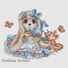 "Cross stitch design ""Bunny Alice"" Designer – Sichkar Svetlana Artist - Mélanie Pelet The size of the embroidery: crosses (for canvas aida 14 is cm) Cute Cross Stitch, Cross Stitch Designs, Cross Stitch Patterns, Cross Stitching, Cross Stitch Embroidery, Hand Embroidery, Mollie Makes, Embroidery Designs, Tips & Tricks"