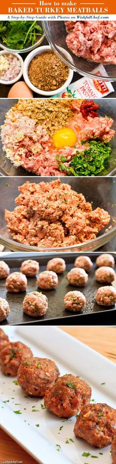 Baked Turkey Meatballs – I added fresh Parmesan cheese to this recipe. We loved them and even my 13 month old daughter gave lots of mmmms! Turkey Dishes, Turkey Recipes, Meat Recipes, Chicken Recipes, Cooking Recipes, Healthy Recipes, Turkey Meals, Meatball Recipes, Healthy Meals