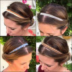 Idée Cadeau Noël : Headband Bijoux de tête, Bandeau pour cheveux en dentelle et sa chaîne en bronze
