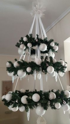 Xmas decoration - making a fairytale for Christmas time Christmas Chandelier Decor, Office Christmas Decorations, Hanging Christmas Tree, Christmas Centerpieces, Outdoor Christmas, Simple Christmas, Christmas Diy, Christmas Wreaths, Christmas Ornaments