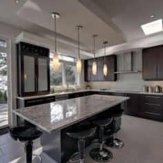 contemporary kitchen: love the colours and the lamps