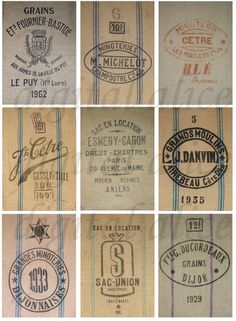FRENCH GRAIN SACKS Feed Sacks Vintage Graphic Collage Sheet - Instant Download Digital Printable ACEo AtC,cards,-Paris