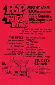 """Glastonbury Line-up, 1970. First edition. The first Festival was held on the day after Jimi Hendrix died, over a two day period and before long """"word had got around"""". It was the Blues festival at the Bath & West Showground that had inspired Michael Eavis to begin a festival of his own although on a smaller scale. Acts included: Marc Bolan, Keith Christmas, Stackridge, Al Stewart, Quintessence Attendance: 1,500. Price: £1 including free milk from the farm."""